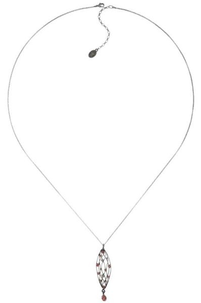 Konplott Cages Halskette mit Anhänger lang in beige/pink Silberfarben 5450543741222