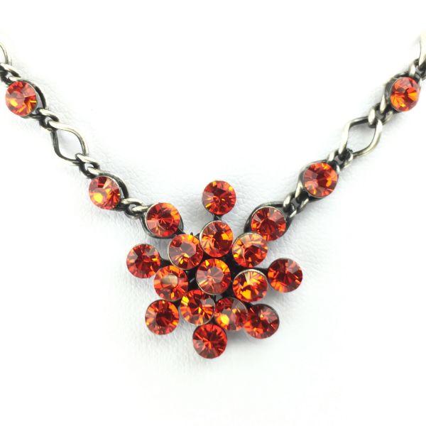 Magic Fireball Halskette steinbesetzt mit Anhänger in hyacinth, orange/rot