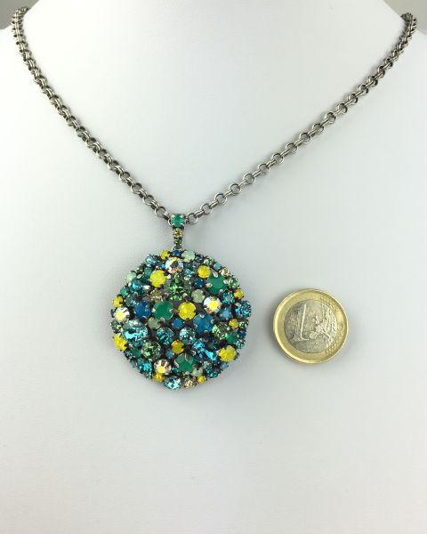 Konplott Ballroom Halskette mit Anhänger grün, blau, gelb 5450543485546