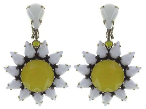 Konplott Sunflower Ohrclip hängend in gelb/weiß 5450543737614