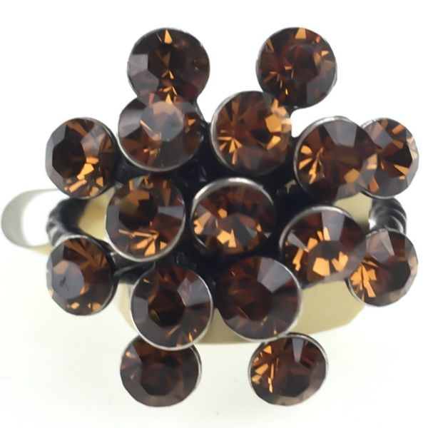Magic Fireball 16 Stein Ring in smoked topaz
