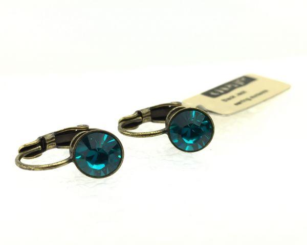 Konplott Black Jack Ohrhänger mit Klappverschluss in Blue Zircon, dunkeltürkis 5450527266659