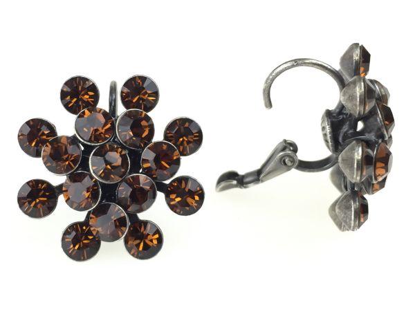 Konplott Magic Fireball Ohrhänger mit Klappverschluss in smoked topaz, braun 5450527640145