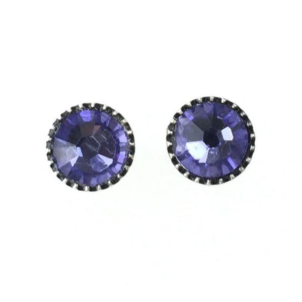 Konplott Black Jack Ohrstecker klassisch rund klein in lila tanzanite 5450527760911