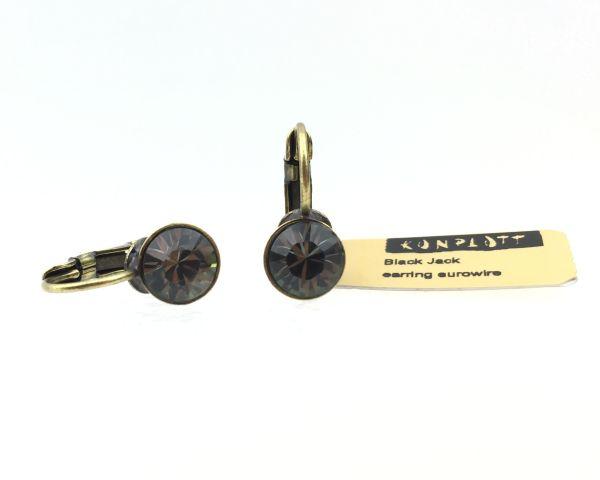 Konplott Black Jack Ohrhänger mit Klappverschluss in Black Diamond, kristall schwarz 5450527157858