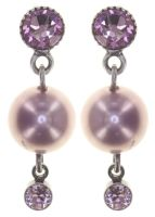 Konplott Pearl Shadow Ohrstecker in pink light amethyst 5450543810935