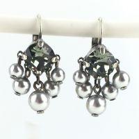 Konplott Pearl Shadow black diamond 5 Perlen Ohrhänger mit Klappverschluss 5450527480833