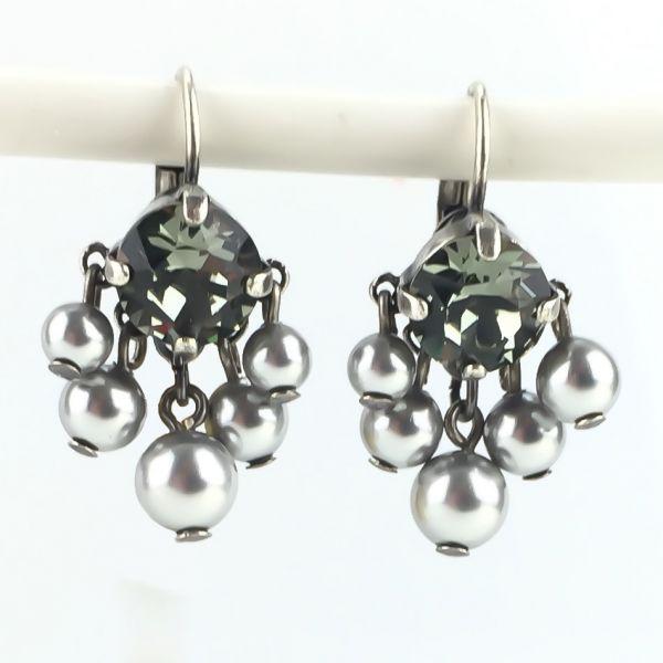 Pearl Shadow black diamond 5 Perlen Ohrhänger mit Klappverschluss