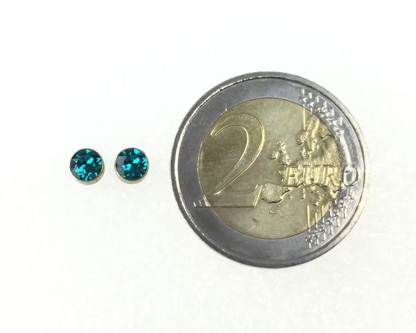 Konplott Black Jack Ohrstecker klein in Blue Zircon, dunkeltürkis 5450527266642