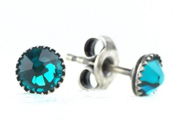 Konplott Black Jack Ohrstecker klassisch rund klein in blue zircon 5450527601290