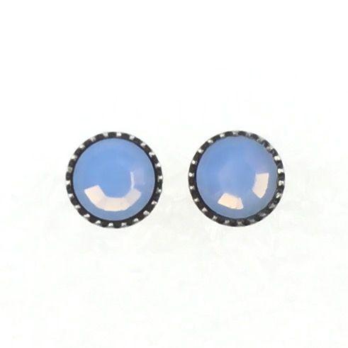 Konplott Black Jack Ohrstecker klassisch rund klein in air blue opal 5450543262147