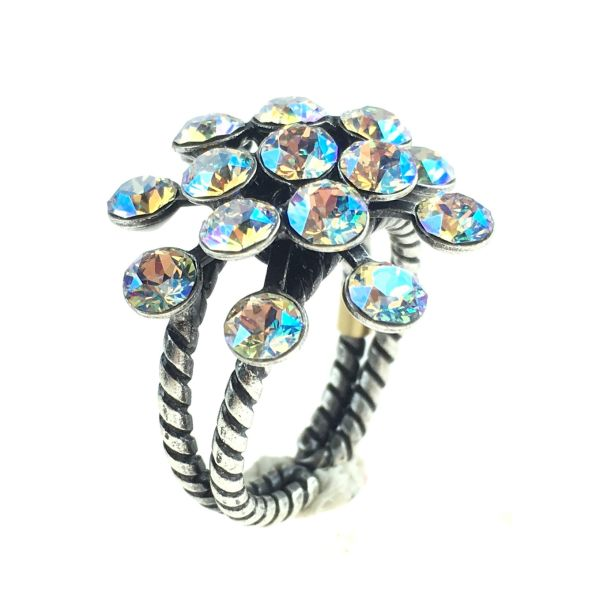 Konplott Magic Fireball white/brown crystal shimmer Ring 5450543644189