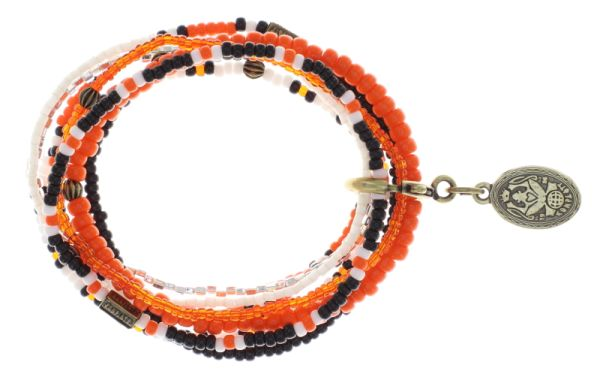 Konplott Petit Glamour d'Afrique Armband in orange/weiß antique 5450543862743