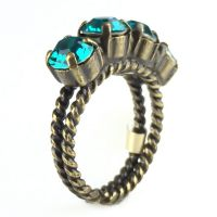 Konplott Colour Snake Ring in Blue Zircon, dunkeltürkis 5450527640916
