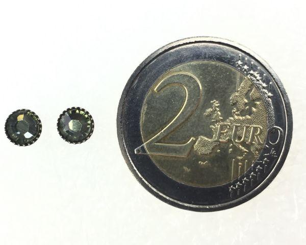 Konplott Black Jack Ohrstecker klassisch rund klein in grey black diamond 5450527725446