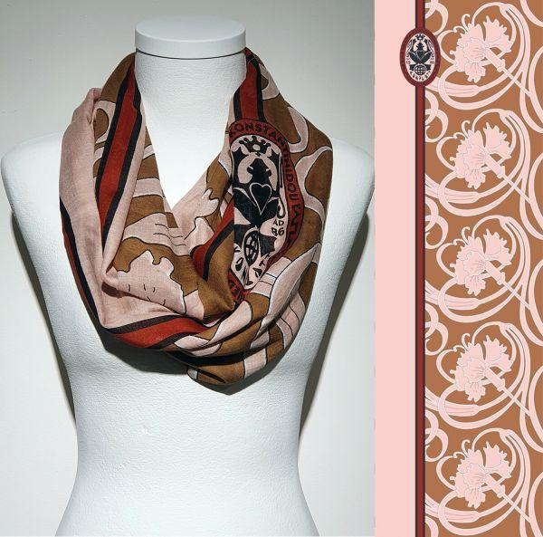 Konplott Schal Floral 16 in rosa/braun 5450543807096