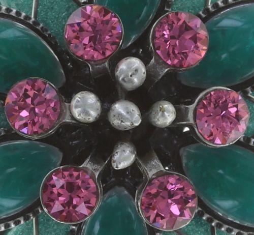 Konplott Psychodahlia Halskette mit Anhänger in grün/pink Silberfarben 5450543734668