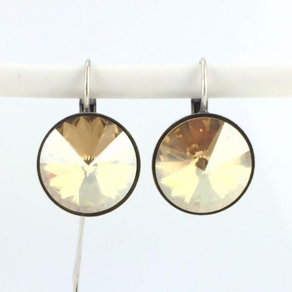 Rivoli crystal golden shadow Ohrhänger mit Klappverschluss