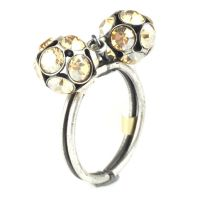 Konplott Disco Balls crystal golden shadow Ring mit 2 Kugeln 5450527640732