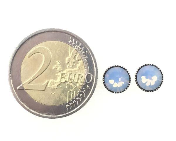 Konplott Black Jack Ohrstecker klassisch rund groß in air blue opal 5450543262024