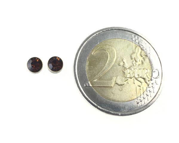 Konplott Black Jack Ohrstecker klassisch rund klein in Smoked Topaz 5450527259781