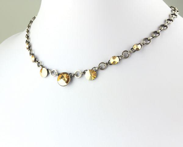 Konplott Rivoli crystal golden shadow Halskette partiell steinbesetzt 5450527640756