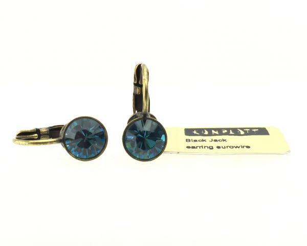 Konplott Black Jack Ohrhänger mit Klappverschluss in Indicolite, blau 5450527110365