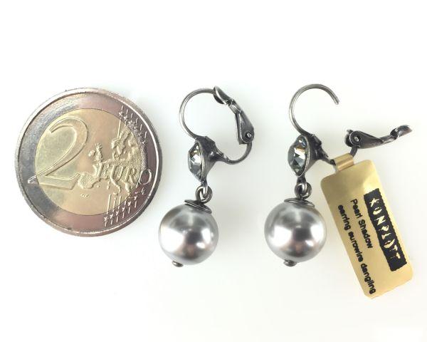 Konplott Pearl Shadow black diamond Perlen Ohrhänger mit Klappverschluss 5450527598859