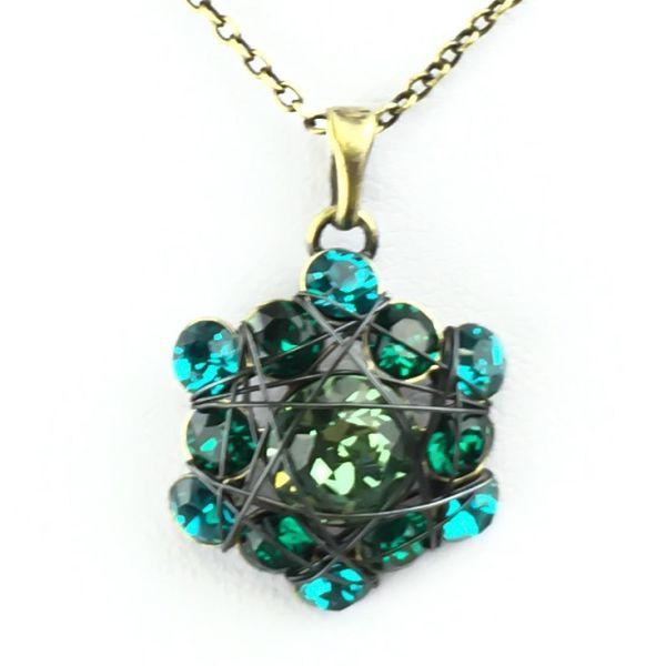 Bended Lights Halskette mit Anhänger in Blau/ Grün