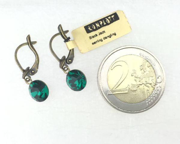 Konplott Black Jack Ohrhänger mit längl. Verschluss in emerald, dunkelgrün 5450527612241