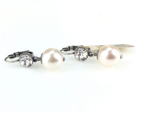 Konplott Pearl Shadow crystal - Perlen Ohrhänger mit Klappverschluss 5450527598941