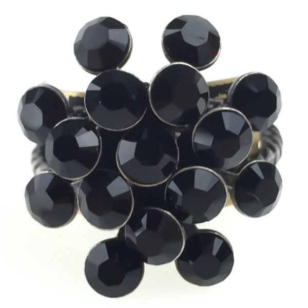 Konplott Magic Fireball 16 Stein Ring in Schwarz, Jet Black 5450527612203