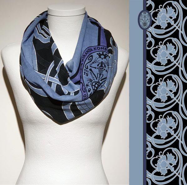 Konplott Schal Floral 8 in schwarz/blau 5450543806921
