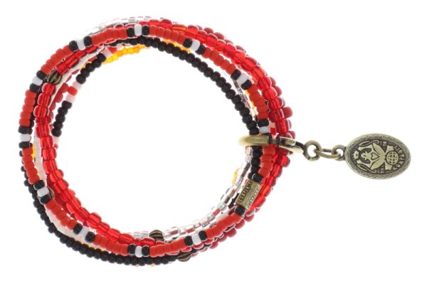 Konplott Petit Glamour d'Afrique Armband in rot/weiß antique 5450543862835