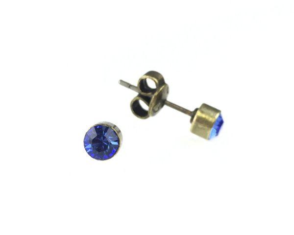 Konplott Black Jack Ohrstecker klein in Sapphire, blau 5450527266598