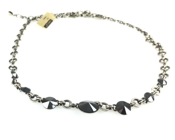 Konplott Rivoli schwarze Halskette partiell steinbesetzt 5450527612777