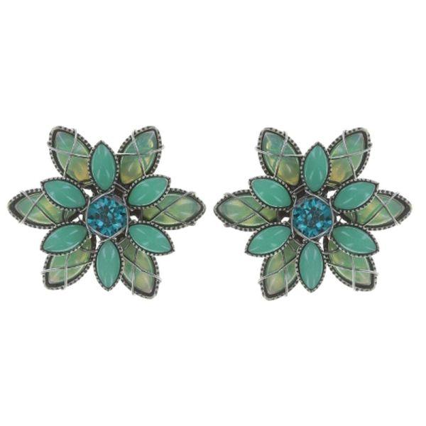 Konplott Psychodahlia Ohrstecker in blau/grün Silberfarben 5450543730172