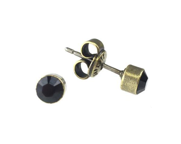 Konplott Black Jack Ohrstecker klassisch rund klein in Jet 5450527259880