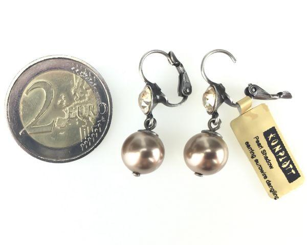 Konplott Pearl Shadow crystal golden shadow Perlen Ohrhänger mit Klappverschluss 5450527598781