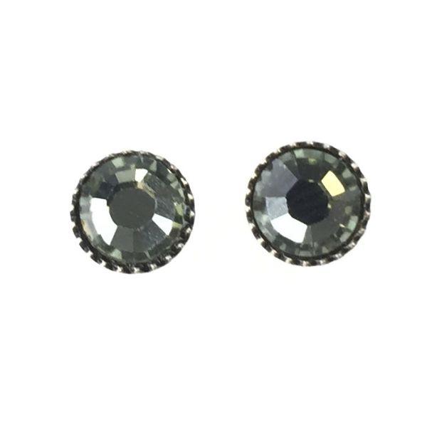Black Jack Ohrstecker klassisch rund klein in grey black diamond