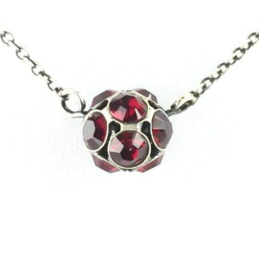 Disco Balls Halskette in siam rot mit Anhänger Größe M
