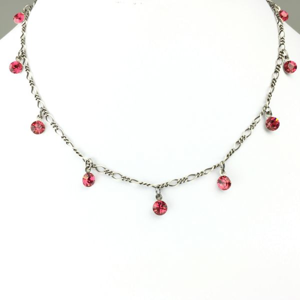 Tutui indian pink Halskette steinbesetzt, pink/rot