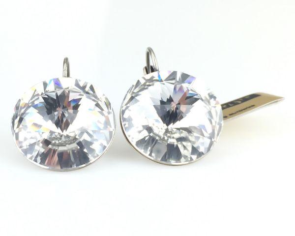 Konplott Rivoli crystal weiße Ohrhänger groß mit Klappverschluss 5450527558235