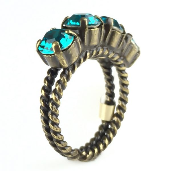 Colour Snake Ring in Blue Zircon, dunkeltürkis