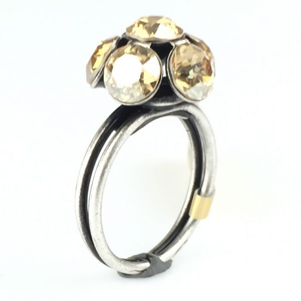 Disco Balls crystal golden shadow Ring mit 1 Kugel