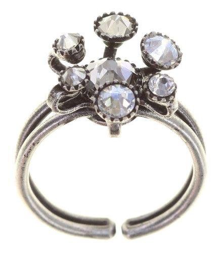 Konplott Alien Caviar Ring Crystal Clear in weiß 5450543895765