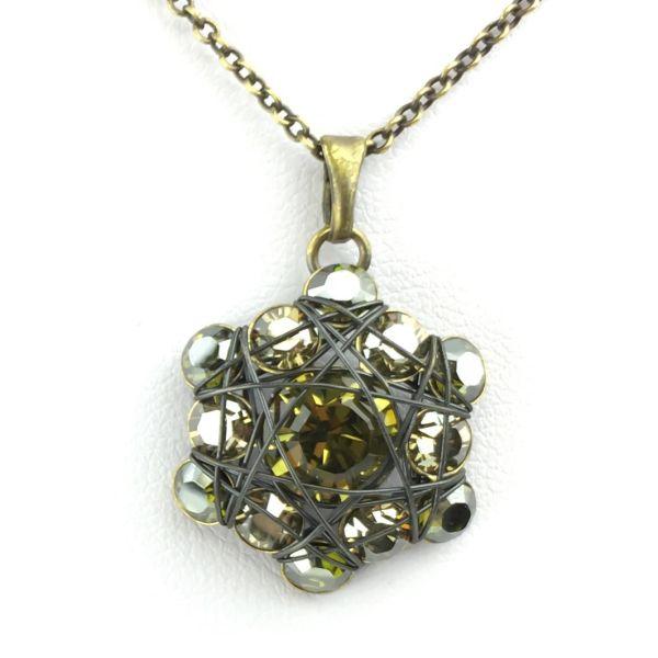 Konplott Bended Lights Halskette mit Anhänger in Olivgrün 5450527758994