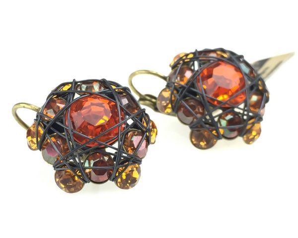 Konplott Bended Lights Ohrhänger mit Klappverschluss in Orange/ Gelb 5450527759465