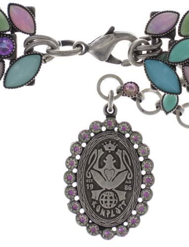 Konplott Dance with Navette Halskette steinbesetzt in pastel multi Silberfarben - Widerrufsware wie neu 5450543705965