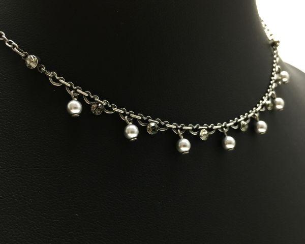 Konplott Pearl Shadow black diamond Halskette partiell steinbesetzt 5450527598835